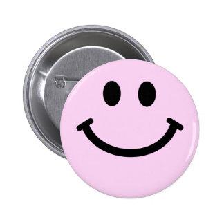 Roze smileygezicht ronde button 5,7 cm