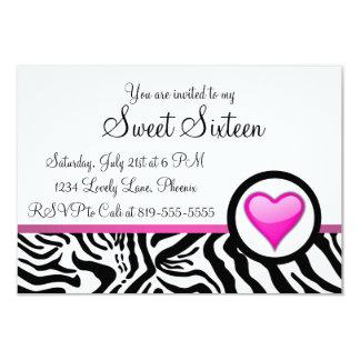 Roze Snoepje Zestien van het Hart 8,9x12,7 Uitnodiging Kaart