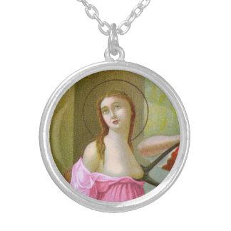 Roze St. Agatha (M 003) Zilver Vergulden Ketting