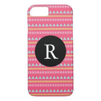 Roze stammen Azteeks Monogram iPhone 7 Hoesje