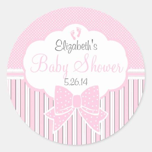 Roze stip en streep baby douche ronde sticker zazzle - Baby douche ...