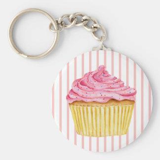 Roze streep Cupcake Keychain Sleutelhangers