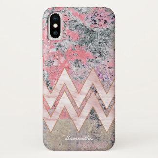 Roze Textuur en Chevrons met Uw Naam iPhone X Hoesje