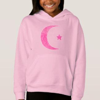 Roze Toenemende Maan en Ster Hoodie