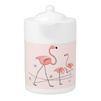 Roze Trio 2 van flamingo's theepot