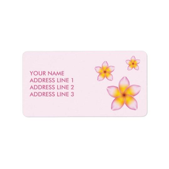Roze Tropische Bloemen Plumeria en Info van de Addressticker
