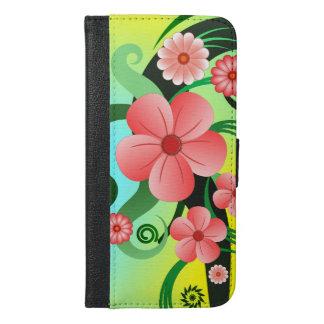 Roze Tropische BloemeniPhone 6 van de Hibiscus iPhone 6/6s Plus Portemonnee Hoesje