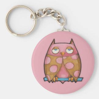 Roze Uil roze Keychain Sleutelhanger