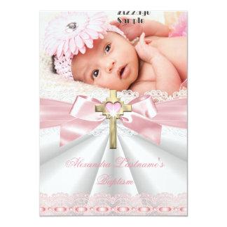 Roze van de Meisjes van het Doopsel van het 11,4x15,9 Uitnodiging Kaart
