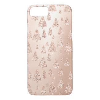 Roze van kerstbomen nam Goud bloost Girly Sparkly iPhone 8/7 Hoesje
