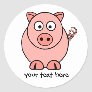 Roze Varken Ronde Sticker