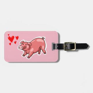 roze varkens grappige cartoon kofferlabel
