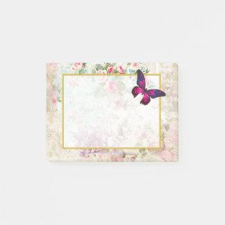 Roze Vlinder en Sjofele Vintage Rozen Post-it® Notes