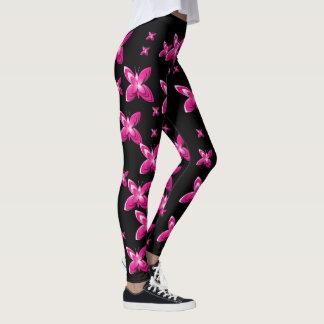 Roze vlinders op zwarte leggings