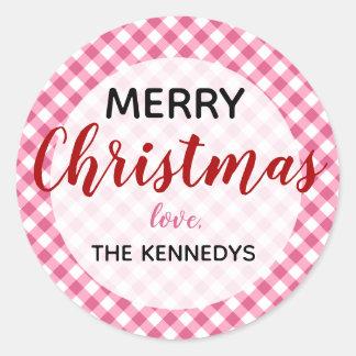 Roze Vrolijke Kerstmis van de Gingang Ronde Sticker