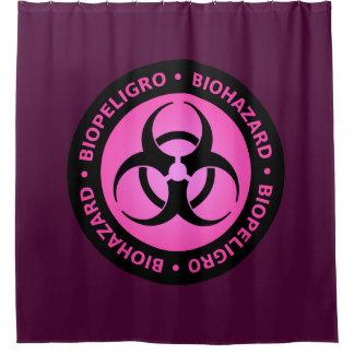 Roze Waarschuwingssein Biohazard Douchegordijn
