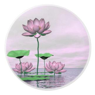 Roze waterlilies en 3D lotusbloembloemen - geef Keramische Knop