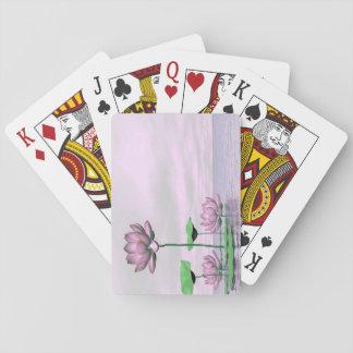 Roze waterlilies en 3D lotusbloembloemen - geef Pokerkaarten