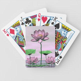 Roze waterlilies en lotusbloembloemen poker kaarten