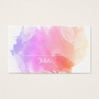 Roze waterverf en van het bladerenhuwelijk visitekaartjes