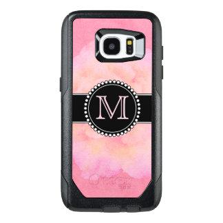 Roze Waterverf, Met monogram OtterBox Samsung Galaxy S7 Edge Hoesje