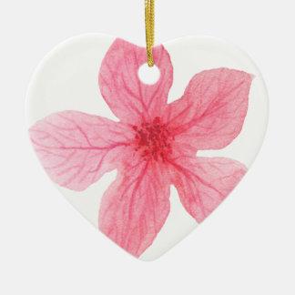 roze waterverfbloem keramisch hart ornament