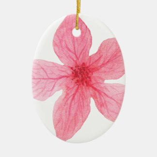 roze waterverfbloem keramisch ovaal ornament