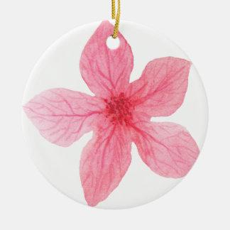 roze waterverfbloem rond keramisch ornament