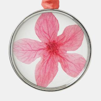 roze waterverfbloem zilverkleurig rond ornament