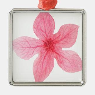 roze waterverfbloem zilverkleurig vierkant ornament