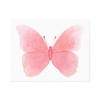 Roze waterverfvlinder canvas print