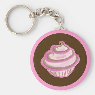 Roze Werveling Cupcake Keychain Basic Ronde Button Sleutelhanger