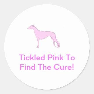 Roze Windhond Ronde Sticker