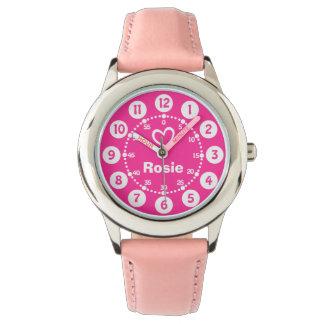 Roze & wit kort de naampolshorloge van meisjes horloge