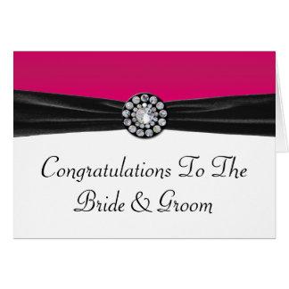 Roze & Wit met Zwart Fluweel & Diamanten bruiloft Briefkaarten 0