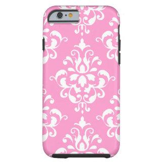 Roze Wit Vintage Patroon 1 van het Damast Tough iPhone 6 Hoesje