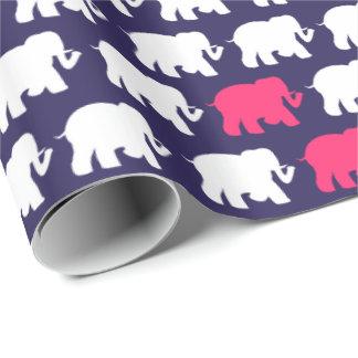 Roze & witte olifantenontwerp het van de marine, inpakpapier
