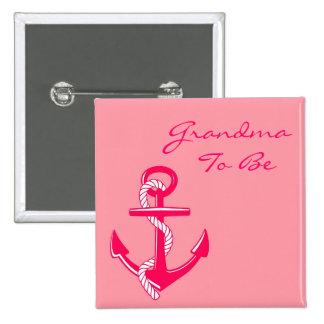 Roze ZeevaartOma om de Speld van het Anker te zijn Vierkante Button 5,1 Cm