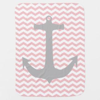 Roze Zigzag & de Grijze ZeevaartDeken van het Baby Inbakerdoek