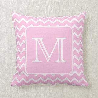 Roze Zigzag met het Monogram van de Douane Sierkussen