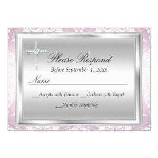 Roze Zilveren Damast & Dwars van het Doopsel Rsvp- 11,4x15,9 Uitnodiging Kaart