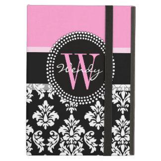 Roze, Zwart Damast Uw Aanvankelijk, Uw Naam iPad Air Hoesje