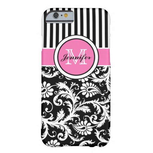 Roze, Zwart, Wit Gestreept Damast met monogram Barely There iPhone 6 Hoesje