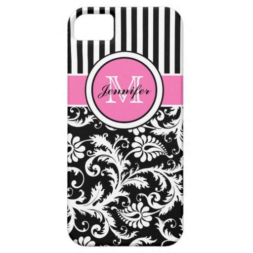 Roze, Zwart, Wit Gestreept Damast met monogram iPhone 5 Case-Mate Hoesje