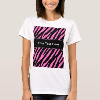 Roze & Zwarte Gestreepte Strepen; Dierlijke Druk T Shirt