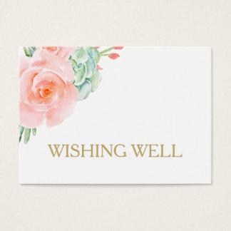rozen die van de waterverf de succulente perzik visitekaartjes