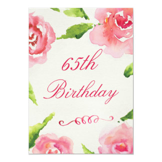 rozen van de Waterverf van de 65ste Verjaardag de 12,7x17,8 Uitnodiging Kaart