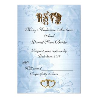 RSVP elegant Blauw satijnhuwelijk Kaart