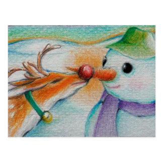 Rudolf ontmoet de sneeuwman briefkaart