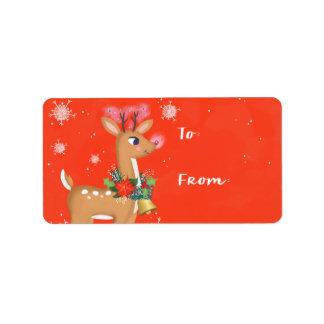Rudolph de Gift van het Rendier Addressticker